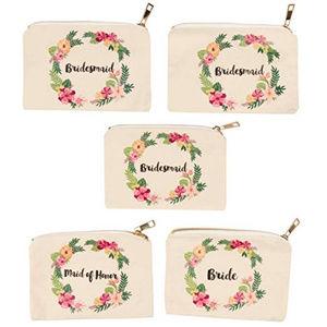 5 Pack Bride Bridesmaid Maid of Honor Bag Set NEW!